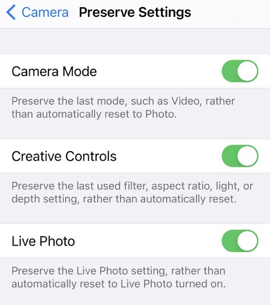 iphone camera settings